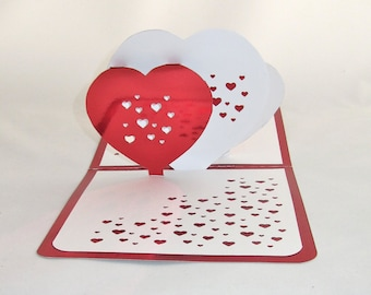 FATHER'S Day 3D Pop Up Card W/3 HEARTS Pierced w/Many Tiny Hearts ORIGINaL DESiGN Handmade Handcut in Metallic Red and White One Of A Kind