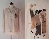 Vintage Blouse - 1970's Blouse with 1920's Theme Print  - Size M
