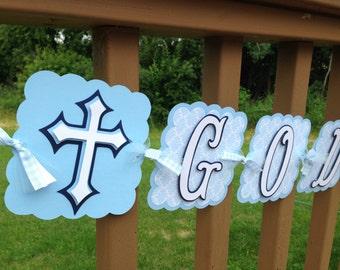 Baptism Christening Banner Soft Blues
