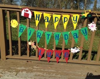Farm Barnyard Animals Happy Birthday with Age Banner