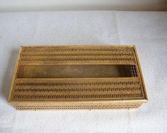 Greek Key Detail. Brass Filigree Tissue Box. Vanity accessory. Vintage Bath.