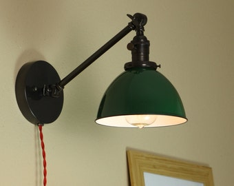 Industrial Wall Lamp - Articulating Wall Sconce - Steampunk Light - GREEN Porcelain Enamel Shade - Hand Finished in Oil Rubbed Bronze