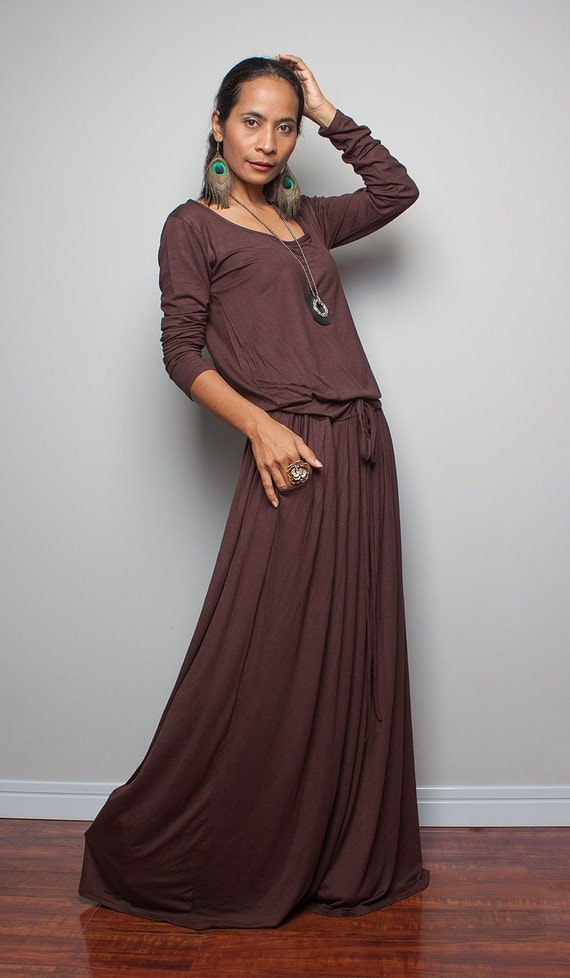 Brown Maxi Dress Chocolate Brown Long Sleeve Dress : Autumn
