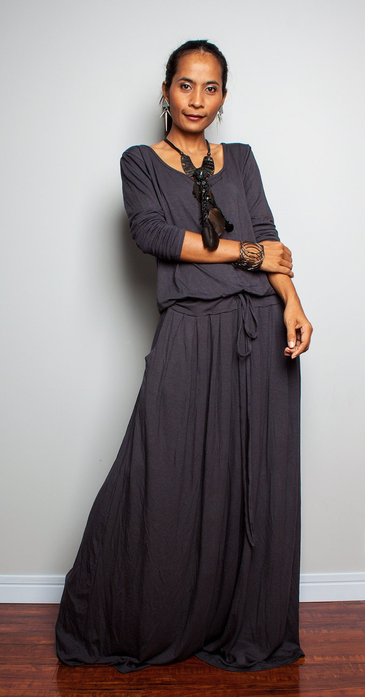 Maxi Dress Long Sleeve Navy Grey Dress Autumn Thrills