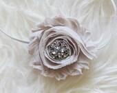 Dainty Stone Beige Headband - Shabby Chiffon Rosette - Skinny Headbands - Newborn Baby Girl Photo Prop - Soft - Vintage Inspired - Taupe