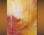 "Original Fine Art Abstract Acrylic Painting, 16 x 20 Gallery Wrap Canvas,Titled ""Melt Down"" by Linda Miller Gold Yellow Art, Modern Art"