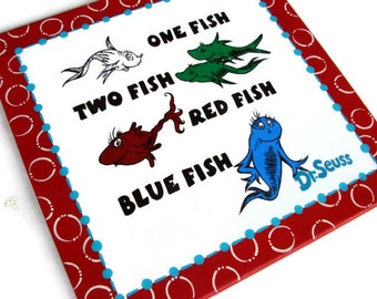 One Fish Two Fish Red Fish Blue Fish - hand painted - dr seuss canvas - 12x12