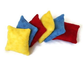 Primary Colors Bean Bags Flannel Blue Red Yellow Bold Brights Child's Toy (set of 6) Homeschool - US Shipping Included