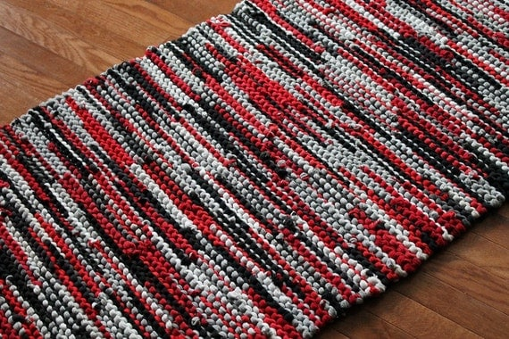CUSTOM Rag Rug Black Charcoal Gray Red White by HandiworkinGirls