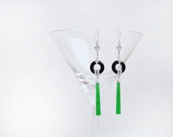 Art Deco Silver Onyx and Jade Drop Earrings
