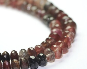Scapolite Micro Faceted Rondelles 5 Large Plum Cream Mink Grey Cats Eye Semi Precious Gemstone