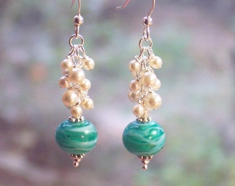 Ocean Green Handmade Lam;pwork Beaded Earrings