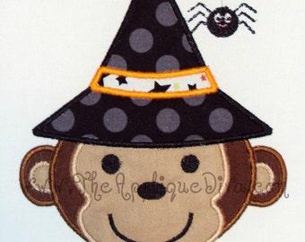 Halloween Monkey Witch Embroidery Design Machine Applique
