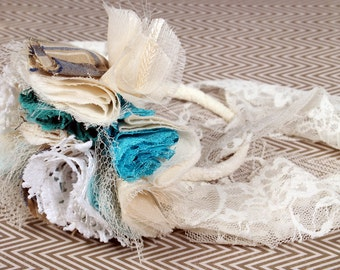 Sale. Cream Blue Flower Bracelet, Victorian Arm Cuff, black cream vintage white fabric tattered flower.  Black Lodge Jewelry
