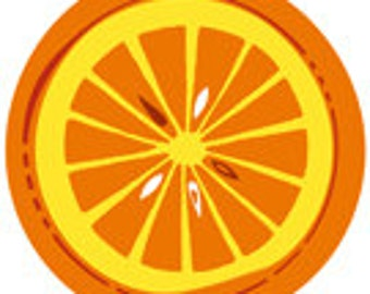 Orange Slice Citrus Mid-Century Modern Style - Digital Image - Vintage Art Illustration Retro Design