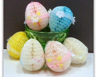 Honeycomb Easter Egg Ornaments Vintage Easter Decorations 1950s