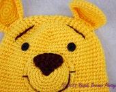 Pooh Bear Hat Yellow Red Crochet Knit Custom Little Kid Baby Boy Girl Toddler Button Eyes