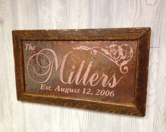 Wedding Gifts For 7th Anniversary : ... wedding gift established date sign custom name sign anniversary gift