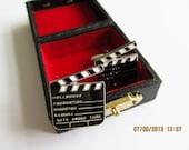Clapperboard Cufflinks Clapper Movie  Flap Cuff links Studs with Box