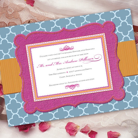 bridal shower invitations, fuchsia and tangerine party invitation, pink and blue invitation, hot pink grad, bachelorette party,  IN193