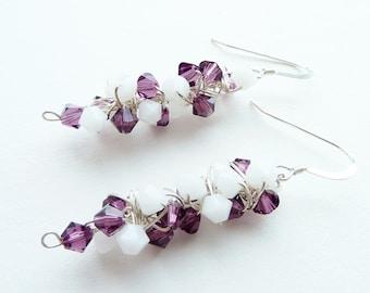 Purple White Earrings Sterling Silver