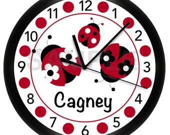 Trendy Red Ladybug Dot Personalized Nursery Wall Clock