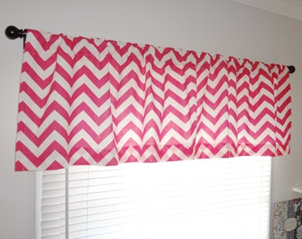 SALE Curtain Valance Topper Baby Girl Nursery 52x15 Hot Pink & White Zig Zag Chevron Valance Baby Room