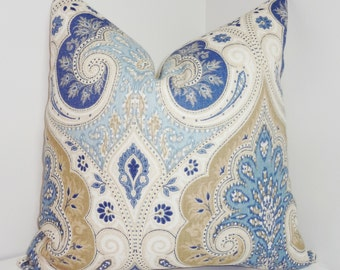 Latika Kravet Delta Blue & Tan Linen Ikat Pillow Cover Paisley Pillow 18x18 20x20
