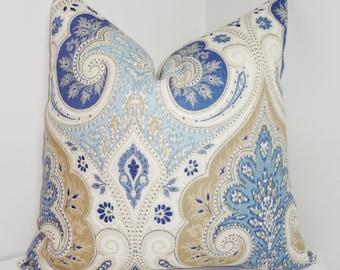 Latika Kravet Delta Blue & Tan Linen Ikat Pillow Cover Paisley Pillow 18x18 20x20