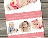 Baby Girl Birth Announcement (Digital File) Alexandria - I Design, You Print