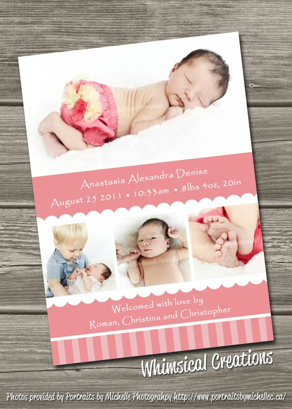 Baby Girl Birth Announcement (Digital File) Alexandria - I Design, You Print
