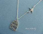 Birdcage Pendant, Bird Necklace, Birdcage Necklace