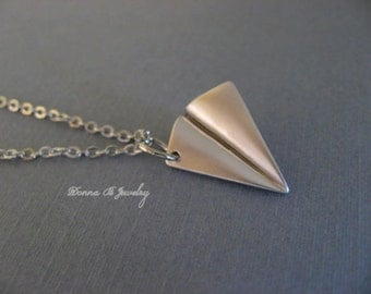 Silver Paper Airplane Necklace, Harry Styles, One Direction, 1D Necklace, Matte Rhodium Finish
