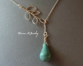 Lariat Style Branch and Turquoise Necklace