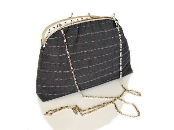 "Clutch Framed Purse - Elegant Evening Purse - Silver Plate Rope Shoulder Chain - Dark Gray fabric - 8"" Frame Purse"