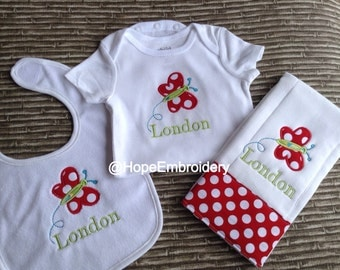 Butterfly Applique Onesie  Bib and Burp Cloth Set