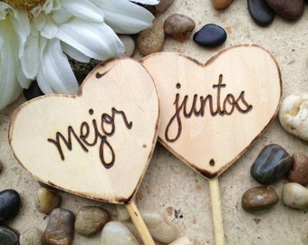 Wedding Engagement Cake Toppers Mejor Juntos Better Together Spanish Wood Hearts Amor Wedding Photo Props Te Amo Casamiento Boda