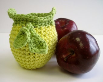 Crochet Apple Cozy Cozies for Fruit  - Lemon Yellow with Lime Green Leaves