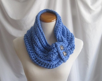 Cowl Chunky Bulky Button Crochet Cowl:  Soft Blue with Silver & Crystal Buttons