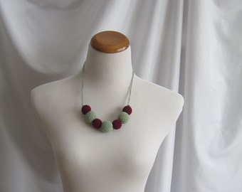 Crochet Covered Bead Necklace - Crimson Burgundy and Clover Sage Green