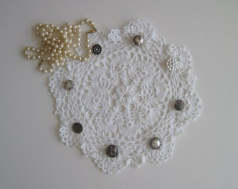 Crochet Silver Button Art Deco Doily White Round