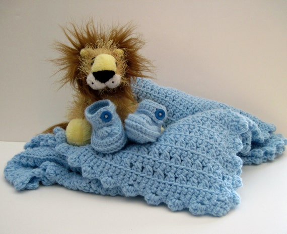 Crochet Baby Blue Blanket Afghan and Booties - Soft Blue for Baby Boy