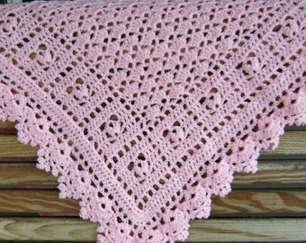 Pretty in Pink Baby Afghan Blanket Crocheted Ready to Ship