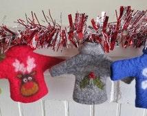Wet Felted Christmas Ornaments e tutorial, Holiday Sweater ornaments, craft pdf tutorial, felt tutorial, felted Christmas ornaments, pattern