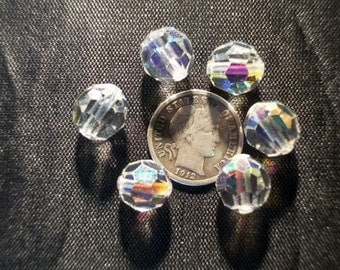 6 Vintage Czech Glass Beads Crystal AB 10mm