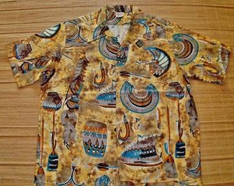 Mens Vintage 70s Barefoot In Paradise Hawaiian Tiki Idol Shirt - XL - The Hana Shirt Co