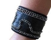 Chain Embellished Genuine Leather Bracelet Wrist Band