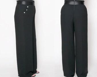 Vintage High Waist Black Wide Leg Dress Pants // Womens tuxedo Pants