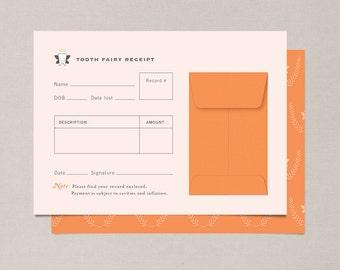Tangerine Tooth Fairy Receipts - Set of 10
