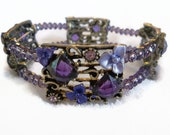 Purple Bracelet - Lavender Flowers - Aurora Borealis